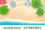 palm trees  beach mat sun... | Shutterstock .eps vector #1070854841