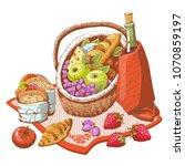 basket for a picnic  vector...   Shutterstock .eps vector #1070859197