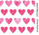 seamless pattern with hearts... | Shutterstock . vector #1070861489