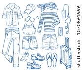 fashion clothing set for travel ...   Shutterstock .eps vector #1070864669