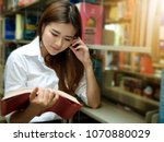 young asian student woman... | Shutterstock . vector #1070880029