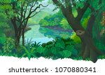 dense  green tropical forest... | Shutterstock .eps vector #1070880341