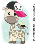 cute cartoon giraffe in a cap... | Shutterstock .eps vector #1070880359