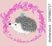 a cute cartoon hedgehog with a... | Shutterstock .eps vector #1070882717