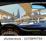 view from inside the car on the ... | Shutterstock .eps vector #1070899754