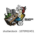 graphic designers working at... | Shutterstock .eps vector #1070902451
