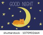 good night. cute red cat... | Shutterstock .eps vector #1070902664