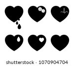 vector set of black heart icons ... | Shutterstock .eps vector #1070904704