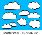 white clouds collection on blue ... | Shutterstock .eps vector #1070907854