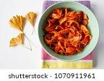 pasta tagliatelle with tomato... | Shutterstock . vector #1070911961