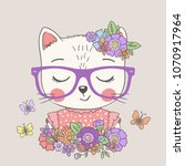 cute cat girl with flowers.... | Shutterstock .eps vector #1070917964