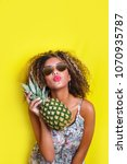 fashion summer portrait afro... | Shutterstock . vector #1070935787