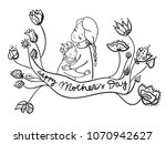 mother's day greeting card.... | Shutterstock .eps vector #1070942627