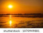 sunset in the danube delta... | Shutterstock . vector #1070949881