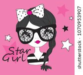 star girl vector illustration ... | Shutterstock .eps vector #1070953907