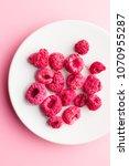 freeze dried raspberries on... | Shutterstock . vector #1070955287