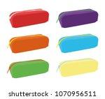 pencil case different color set | Shutterstock .eps vector #1070956511