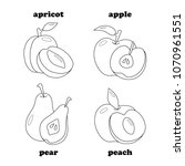 black and white set of fruits.... | Shutterstock .eps vector #1070961551