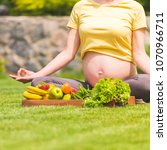 a pregnant woman sits on the...   Shutterstock . vector #1070966711