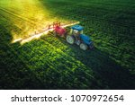 Aerial View Of Farming Tractor...
