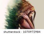 double exposure  beautiful...   Shutterstock . vector #1070972984