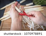 white asparagus preparation and ...   Shutterstock . vector #1070978891