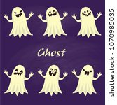 spooky ghost collection vector | Shutterstock .eps vector #1070985035