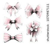 bow set graphic drawn on paper... | Shutterstock . vector #1070987111