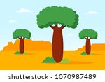 african landscape with baobab... | Shutterstock .eps vector #1070987489