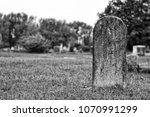 Old Blank Tombstone In Black...
