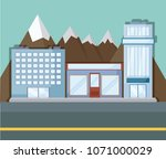 landscape with city buildings | Shutterstock .eps vector #1071000029