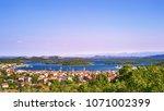 aerial view of murter island...   Shutterstock . vector #1071002399