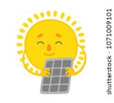 sun solar panel | Shutterstock .eps vector #1071009101