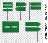 road green traffic sign. blank... | Shutterstock .eps vector #1071015521