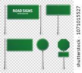 road green traffic sign. blank... | Shutterstock .eps vector #1071015527