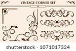 vintage corner set | Shutterstock .eps vector #1071017324