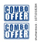 pair of combo offer blue square ... | Shutterstock .eps vector #1071018284