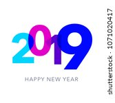 2019 happy new year greeting... | Shutterstock .eps vector #1071020417