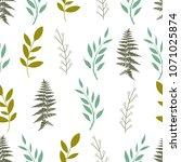 seamless cute floral vector... | Shutterstock .eps vector #1071025874