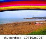 rainy day view   aegean coast ...   Shutterstock . vector #1071026705