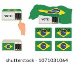electoral elements with flag... | Shutterstock .eps vector #1071031064