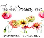 title the best summer ever with ... | Shutterstock . vector #1071035879