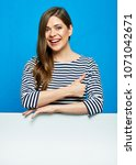 woman showing thumb up white... | Shutterstock . vector #1071042671