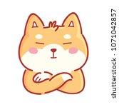 cute shiba inu proud  haughty ... | Shutterstock .eps vector #1071042857
