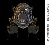 head monkey illustration.... | Shutterstock .eps vector #1071052439