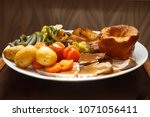 traditional british roast beef... | Shutterstock . vector #1071056411