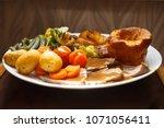 traditional british roast beef... | Shutterstock . vector #1071056411