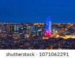 scenic aerial view of barcelona ... | Shutterstock . vector #1071062291