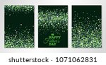 banners set with green confetti ... | Shutterstock .eps vector #1071062831