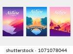 rays of the morning sun over... | Shutterstock .eps vector #1071078044